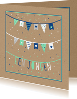 Felicitatiekaarten - Felicitatie - Vlaggetjes met confetti jongen