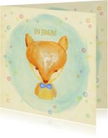 Felicitatiekaarten - Felicitatie vosje geboorte blauw