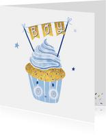 Felicitatie zoon happy cupcake blauw