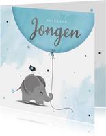 Felicitatie zoon olifantje met ballon en vogel