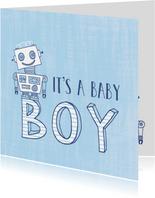 Felicitatie zoon silhouet robot blauw 1 - MW