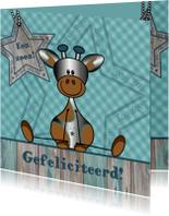 Felicitatie zoon zilver girafje