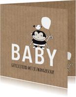 Felicitatie zwanger aapje met ballon Kraft - MW