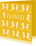 Felicitatie zwanger silhouet geel - MW