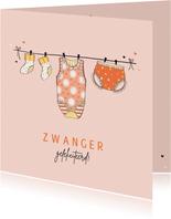 Felicitatie zwanger waslijn oranje