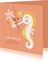 Felicitatie zwanger zeepaardje bloemen peach