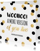 Felicitatie zwangerschap typografie confetti goudlook