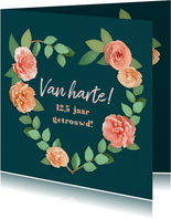 Felicitatiekaart 12,5 jaar getrouwd bloemenhart