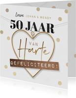 Felicitatiekaart 50 jaar getrouwd proficiat hartje goud