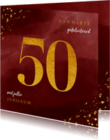 Felicitatiekaart 50 jaar gouden spetters op waterverf