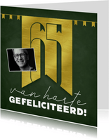 Felicitatiekaart 65 jaar gouden letters en slingers groen