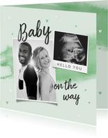 Felicitatiekaart aankondiging zwangerschap waterverf echo