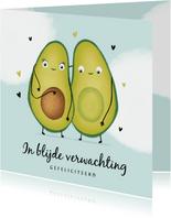 felicitatiekaart avocado zwanger ouders hartjes