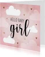 Felicitatiekaart baby girl met hartjes