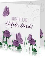 Felicitatiekaart bloemen met vlinders