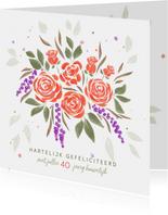 Felicitatiekaart boeket oranje rozen