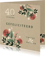 Felicitatiekaart botanisch met bloemen, planten en kraftlook