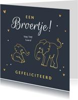 Felicitatiekaart broer of zus met olifantjes en hartjes