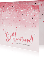 Felicitatiekaart communie meisje roze hartjes waterverf