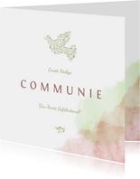 felicitatiekaart communie met duif van bloemen en waterverf