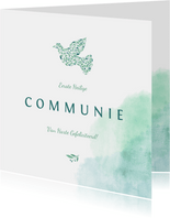 Felicitatiekaart communie met waterverf en duif van bloemen