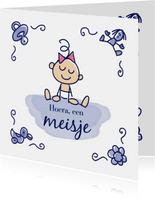Felicitatiekaart delfts blauw tegel met baby meisje