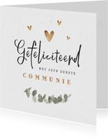 Felicitatiekaart eerste communie eucalyptus goud hartjes