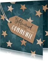 Felicitatiekaart eerste communie label houten sterren blauw