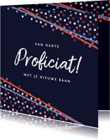 Felicitatiekaart feestelijk confetti vrolijk nieuwe baan