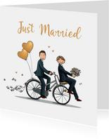 Felicitatiekaart fietsend homo stel