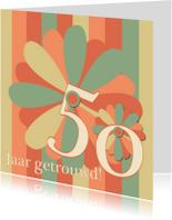 Felicitatiekaarten - Felicitatiekaart flower50 jaar getrouwd