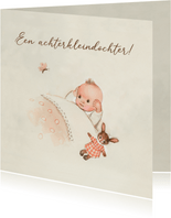 Felicitatiekaart geboorte - Achterkleindochter met vlinder