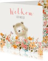 Felicitatiekaart geboorte beer en bloemetjes