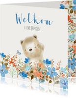 Felicitatiekaart geboorte beer met bloemen jongen