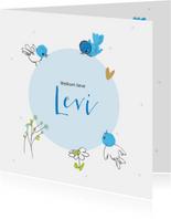 Felicitatiekaart geboorte blauwe vogeltjes om cirkel