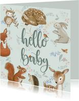 Felicitatiekaart geboorte - Bosdieren met bloemen mintgroen