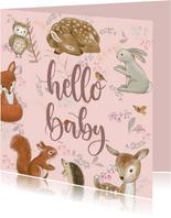 Felicitatiekaart geboorte - Bosdieren met bloemen roze