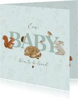 Felicitatiekaart geboorte - Bosdieren met takjes mintgroen