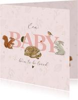 Felicitatiekaart geboorte - Bosdieren met takjes zachtroze