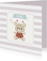 Felicitatiekaarten - Felicitatiekaart geboorte dochter beer