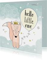 Felicitatiekaart geboorte hello little one gele ballon