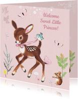 Felicitatiekaart geboorte hertje roze