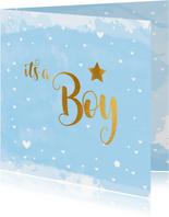 Felicitatiekaart geboorte it's a Boy lichtblauw