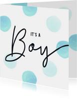 Felicitatiekaart geboorte jongen blauwe stippen aquarel