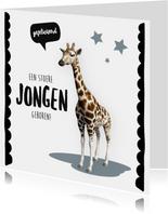 Felicitatiekaart geboorte jongen giraffe