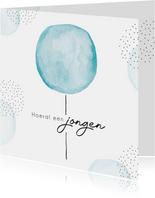 Felicitatiekaart geboorte jongen met blauwe waterverf ballon