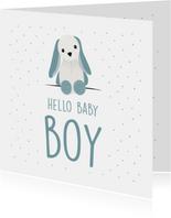 Felicitatiekaart geboorte jongen met lieve knuffel