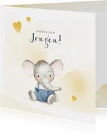 Felicitatiekaart geboorte jongen met olifantje en hartjes