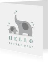 Felicitatiekaart geboorte jongen olifantjes met hartjes