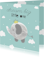 Felicitatiekaart geboorte Jongetje Dream Big Little One